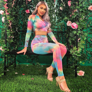 Multi Tie Dye Crop Top And Leggings Set