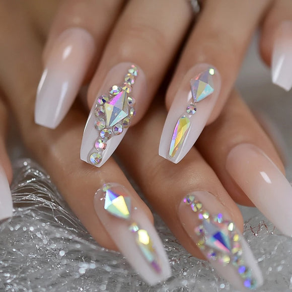 Clear Ombre Press On Nails With Crystals