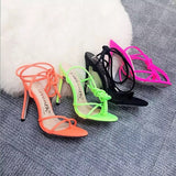 Neon Thin Strappy Lace Up Heels