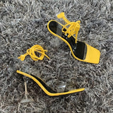 Yellow Lace Up Strappy Perspex Heels