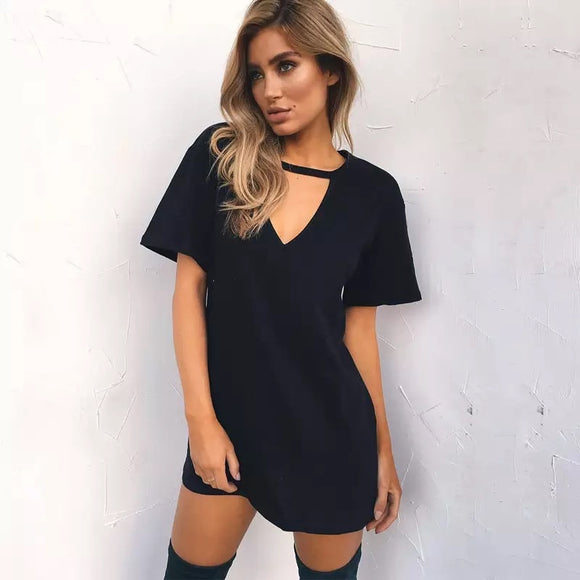 Plus Black V Neck Choker Dress