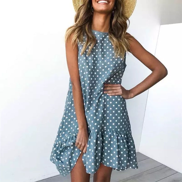 Plus Polka Dot Blue Ruffle Dress
