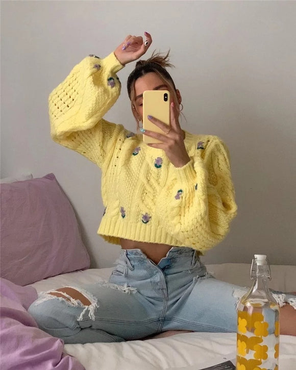 Yellow Floral Cropped Knitted Sweater