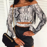Animal Print Off The Shoulder Blouse