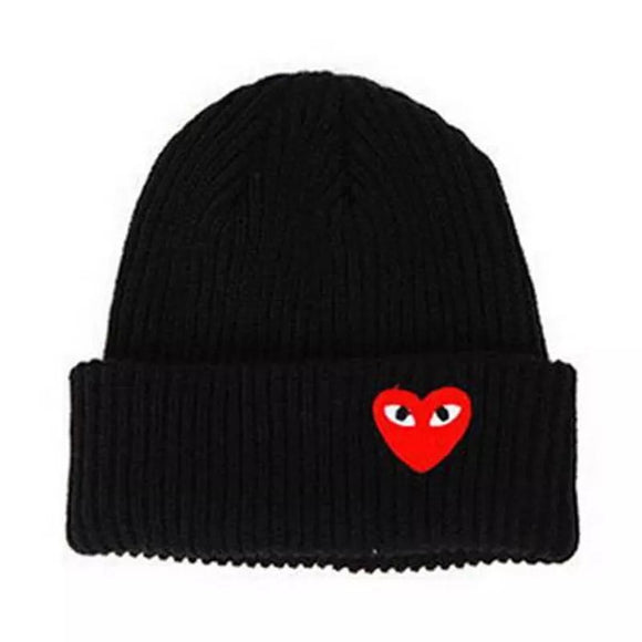 Embroidered Heart Beanie Hat