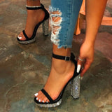 Diamante Sole Detail Heeled Sandal