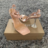 Chesnut Brown Lace Up Strappy Perspex Heels
