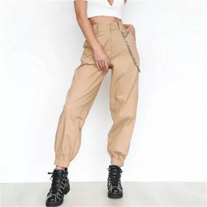 Plus Beige High Waisted Cargos
