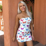 White Butterfly Print Strapless Bodycon Dress