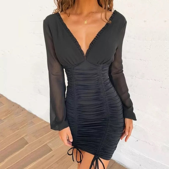 Black Pleated Detail Frill Hem Bodycon Dress