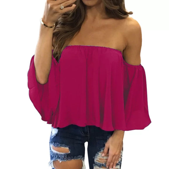 Plus Coloured Off Shoulder Puff Blouse