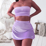 Glitter Heart Tube Top Two Piece Set