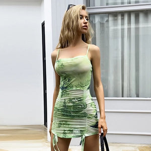 Green Dragon Mesh Ruched Bodycon Dress