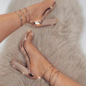 Diamanté Rose Gold Strappy Heels