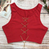 Metal Chain Lace Up Tank Top