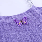 Butterfly Embroidery Fur Metal Chain Top