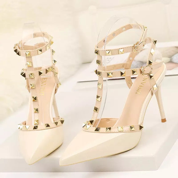 Studded Heeled Stiletto Court Shoes