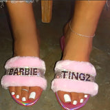 Barbie Tingz Pink Fur Slides
