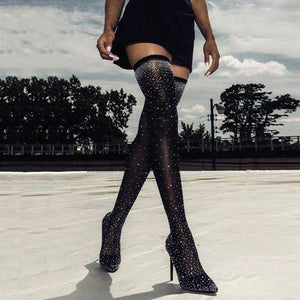 Black Diamanté Over-The-Knee Heel Boots