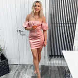 Pink Short Puff Sleeve Bodycon Dress