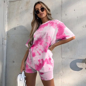Neon Pink Tie Dye T Shirt And Shorts Co Ord