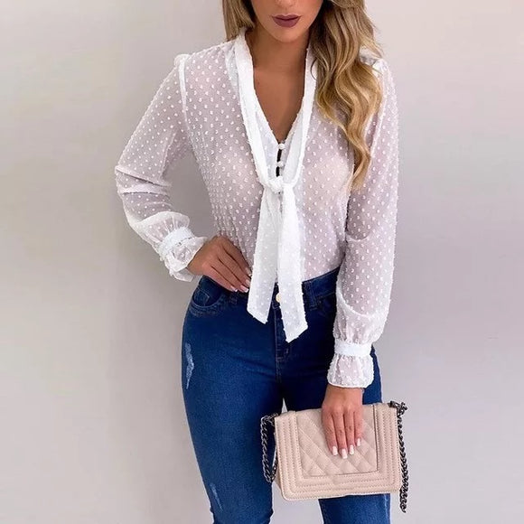 Plus White Chiffon Blouse