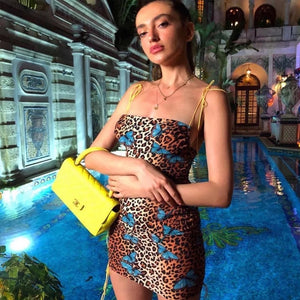Leopard Print Backless Butterfly Dress