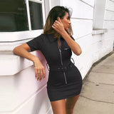 Black Zipper Front Belted Shirt Dress