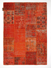 Dolce Vita Patchwork Orange Rugs Natural and Hand Knotted