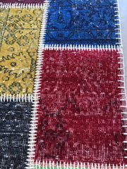 Free Shipping Patchwork Multi Rugs Natural and Hand Knotted (2.6x9.8 feet) kb