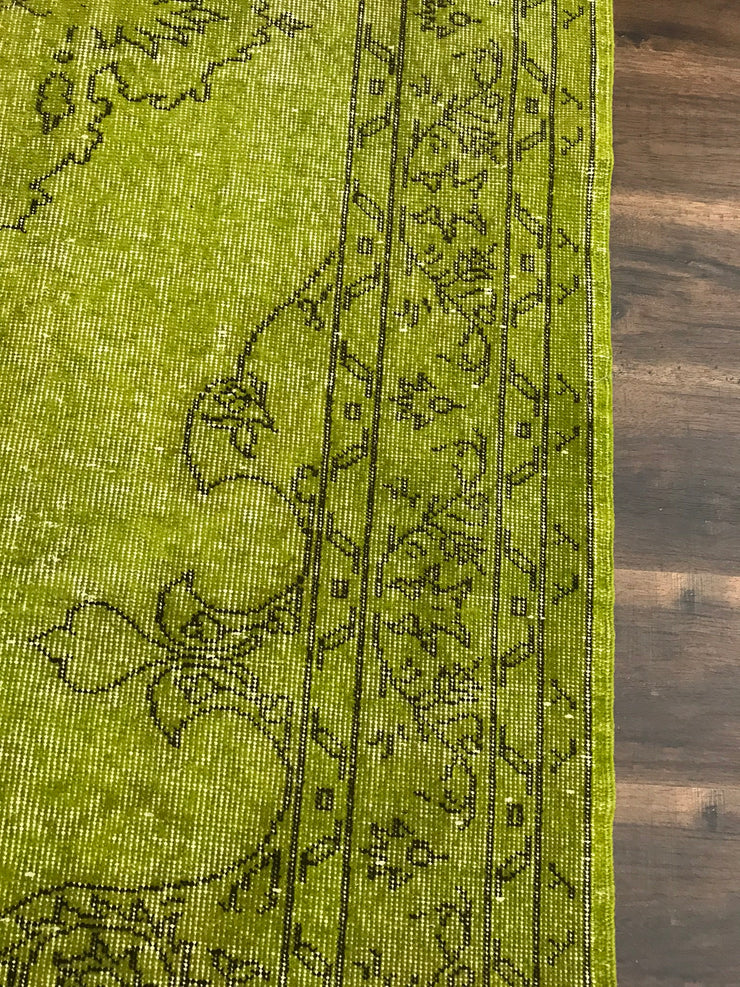 Free Shipping Turkish Vintage Green Carpet Natural and Hand Knotted 101280 (5.5x9.1 feet)