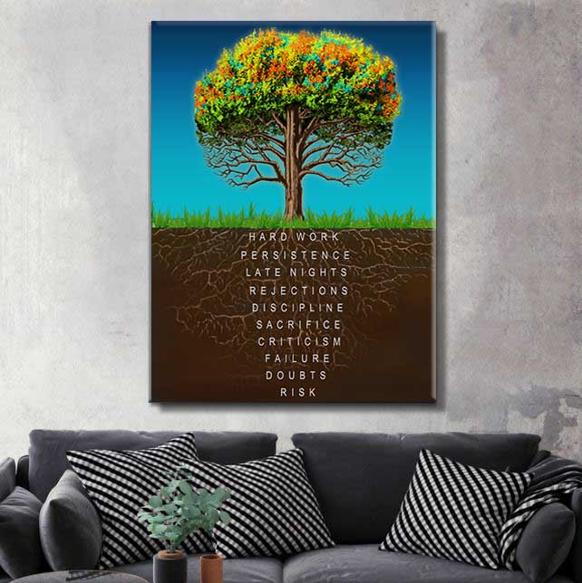 Keep going and believe in yourself. This art piece depicts the hidden aspects of what success is that always goes unnoticed. Get this inspirational art piece to keep yourself motivated and going!