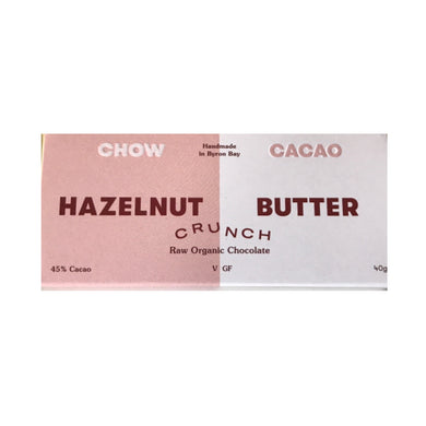 Chow Cacao Hazelnut Butter Crunch Raw Organic Chocolate (40g)