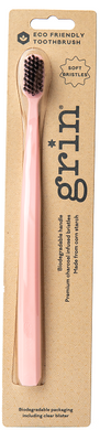 Grin Charcoal Infused Biodegradable Rose Pink Toothbrush Medium