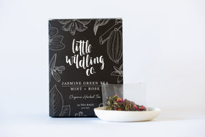 Little Wildling Co 'Jasmine Green Tea, Mint & Rose' Organic Herbal Tea Bags (15)