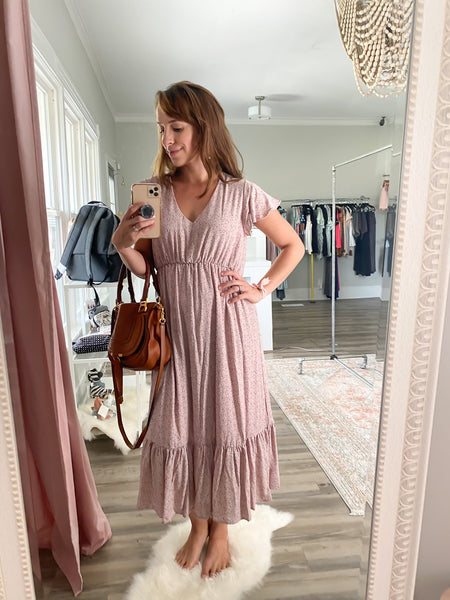 Fully-lined Cap Sleeve Dress with Ruffle