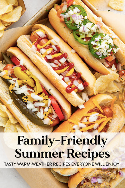 Family-friendly summer recipes graphic