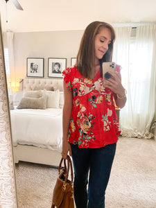 Red Floral Breezy Top