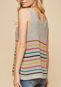 Rainbow Striped Sweater Tank (Plus Option)