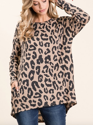 Plus Size Knit Leopard Sweater Tunic