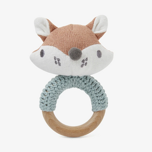 Fox Knit Baby Ring Rattle