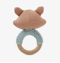 Load image into Gallery viewer, Fox Knit Baby Ring Rattle