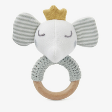 Load image into Gallery viewer, Elephant Prince Knit Baby Ring Rattle