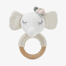 Load image into Gallery viewer, Elephant Princess Knit Baby Ring Rattle