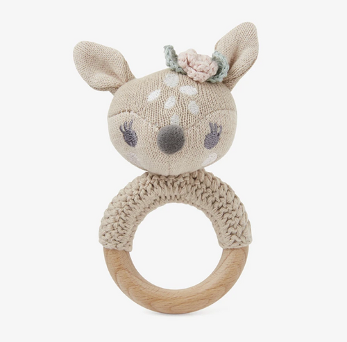 Fawn Knit Baby Ring Rattle
