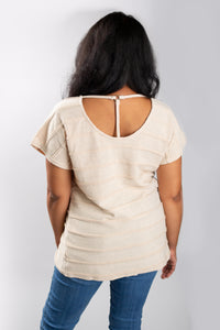 Cream Seam Detail Dolman Top With T-Strap Back