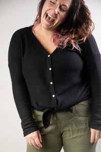 Black Brushed Thermal Button Down Top