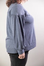 Load image into Gallery viewer, Heather Blue Oversized Bell Sleeve Top