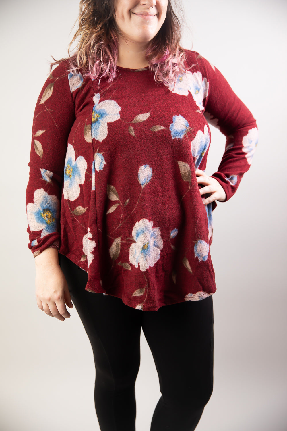 Knit Floral Print Long Sleeve Split Side Top