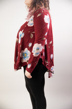 Load image into Gallery viewer, Knit Floral Print Long Sleeve Split Side Top